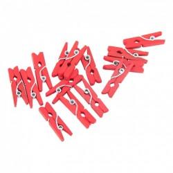 Дървени мини щипчици 3х25мм - червени - 10 бр.