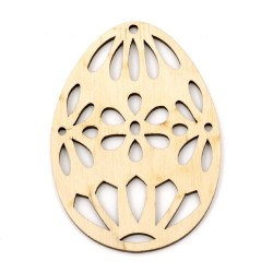 Декоративна дървена фигурка с дупка за закачане - яйце - 80x5.5x3 мм