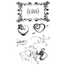Силиконов печат - Любов - рамка / сърца - 11x20 см - Love