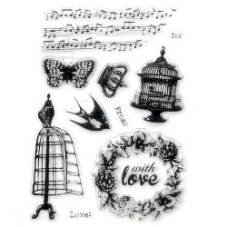 Силиконов печат - петолиния, ноти, кафез, корона, пеперуда - 11x16 см With Love