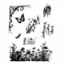 Силиконов печат - цветя / надписи / пеперуда / морско конче / цветя - 15x18 см