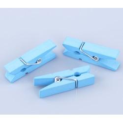 Комплект от 10бр. дървени мини щипчици с размери - 35мм x 7мм - светло сини