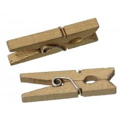 Комплект от 10бр. дървени щипки с размери  3cm x0.5cm - златни