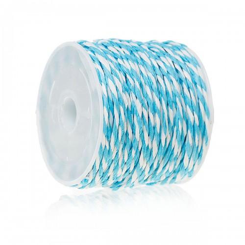 Хартиен пресукан шнур бяло и светло синьо - 1,2мм х 14метра