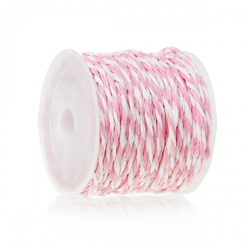 Хартиен пресукан шнур бяло и светло розово  - 1,2мм х 14метра