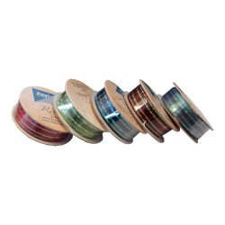 Комплект от панделки от органза - Joy Craft Box of 5 Rolls of Sheer Ribbon with Satin & Rainbow Stripes 9mm