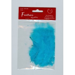 Пера - Marabou Feathers, Turquoise, 15 pcs/ headerbag