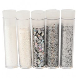 Комплект от 5 броката - Hobby and Crafting Fun - Glitter & Flitter Set Silver