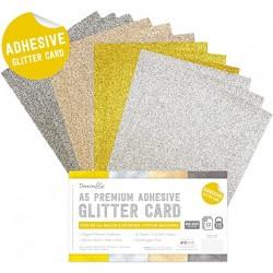 Комплект от самозалепващи листи с брокат - Dovecraft Adhesive Glitter Sheets A5 Metallic (DCGCD046)