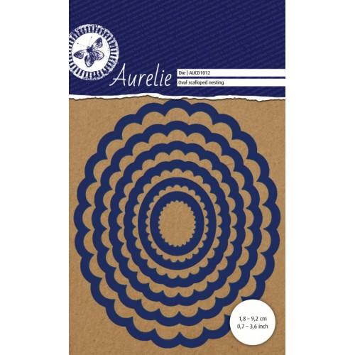 Универсална щанца за рязане и релеф - Aurelie Oval Scalloped Nesting Die (AUCD1012)