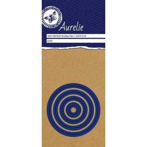 Универсална щанца за рязане и релеф кръг с имитация шев - Aurelie Stitched Circle Mini Nesting Die (AUCD1028)