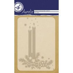 Ембосинг папка / папка за релеф новогодишни свещи - Aurelie Holy Candles Background Embossing Folder (AUEF1017)