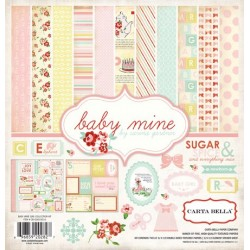 "Дизайнерски комплект 12"" х 12"" - Carta Bella Baby Mine Girl 12x12 Inch Collection Kit (CB-BMG26016)"