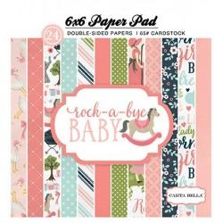 """Дизайнерско блокче 6"""" х 6"""" - Carta Bella Rock-a-Bye Girl 6x6 Inch Paper Pad (CBRBG63015)"""