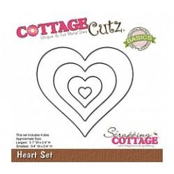 Универсална щанца за рязане и релеф - Scrapping Cottage CottageCutz Heart Set (Basics) (CCB-002)