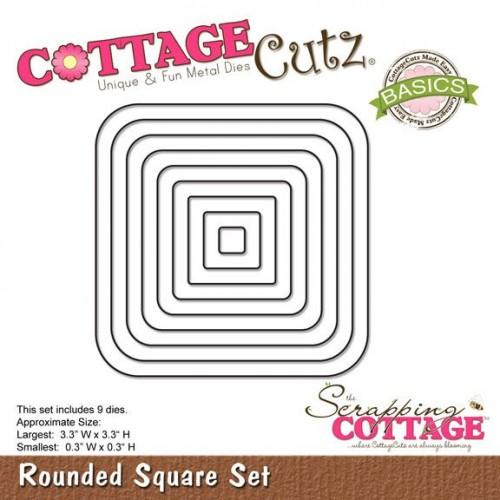 Универсална щанца за рязане и релеф - квадрати със заоблени ъгли - Scrapping Cottage CottageCutz Rounded Square Set (Basics) (CCB-006)