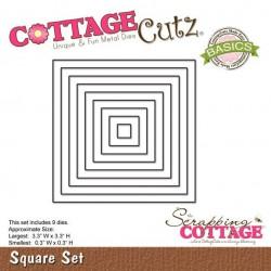 Универсална щанца за рязане и релеф - квадрати - Scrapping Cottage CottageCutz Square Set (Basics) (CCB-007)