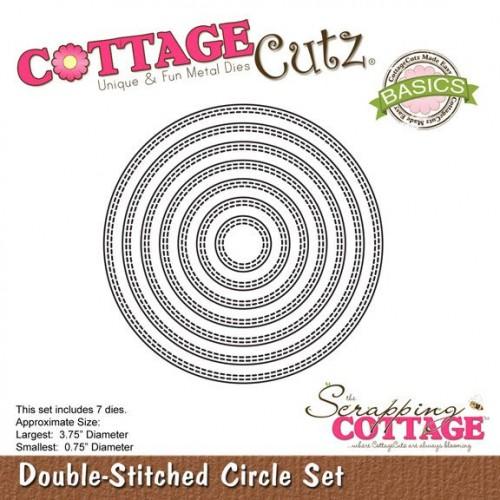 Универсална щанца за рязане и релеф - кръгове с двоен шев - Scrapping Cottage CottageCutz Double-Stitched Circle Set (Basics) (CCB-019)