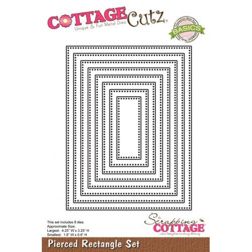Универсална щанца за рязане и релеф - рамки - правоъгълници с точки по края - Scrapping Cottage CottageCutz Pierced Rectangle Set (Basics) (CCB-025)