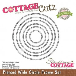 Универсална щанца за рязане и релеф - Scrapping Cottage CottageCutz Pierced Wide Circle Frame Set (Basics) (CCB-027)
