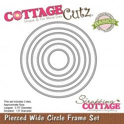 Универсална щанца за рязане и релеф - Scrapping Cottage CottageCutz Pierced Wide Circle Frame Set (Basics) (CCB-027)