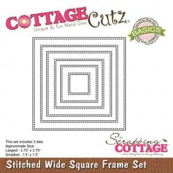 Универсална щанца за рязане и релеф - Scrapping Cottage CottageCutz Stitched Wide Square Frame Set (Basics) (CCB-034)