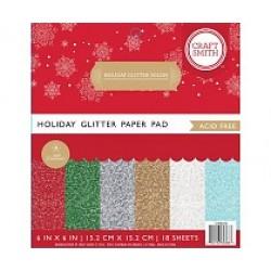 "Дизайнерско блокче 6"" х 6"" с брокатени листи - Craft Smith Holiday Glitter Solids 6x6 Inch Paper Pad (CIN035)"