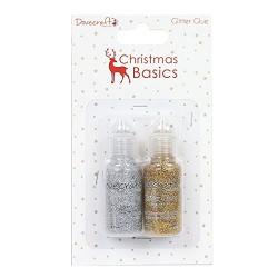 Глитерно сребристо и златисто лепило - Dovecraft Christmas Basics Glitter Glues Silver and Gold (DCGLI005X16)