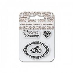 """Комплект от силиконови печати  """"Сватба"""", годежни пръстени, овална рамка, сърце - ScrapBerry's Set Of Clear Stamps 7x7 cm Our Wedding (SCB4907083)"""