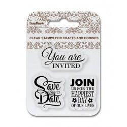 Комплект от силиконови печати  - ScrapBerry's Set Of Clear Stamps 7x7 cm Save The Date, Wedding (SCB4907085)