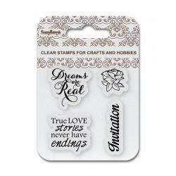 Комплект от силиконови печати  - ScrapBerry's Set Of Clear Stamps 7x7 cm Invitation, Wedding (SCB4907086)
