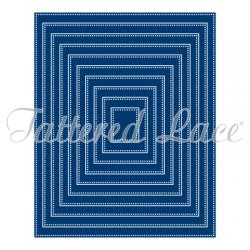 Универсална щанца за рязане и релеф правоъгълни рамки с перфорация - Tattered Lace Essentials Pin Dot Rectangles (ETL59)
