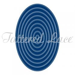 9 бр. щанци за изрязане и релеф рамки от овали с перфорация - Tattered Lace Essentials Pin Dot Ovals (ETL60)