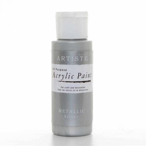 Акрилна боя - сиво металик - Docrafts Acrylic Paint (2oz) - Metallic Silver (DOA 763101)