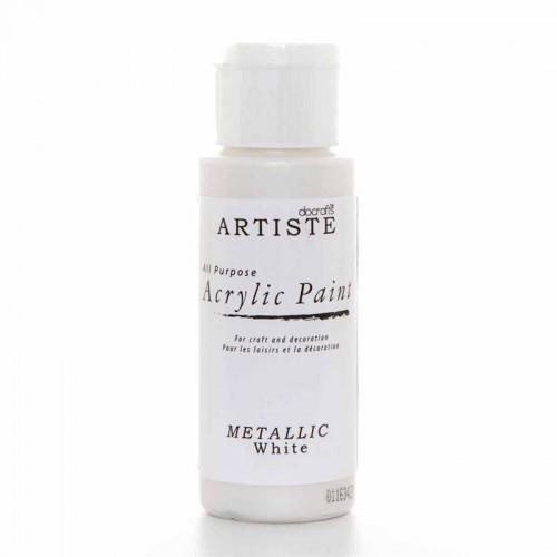Акрилна боя - бяло металик - Docrafts Acrylic Paint (2oz) - Metallic White (DOA 763106)