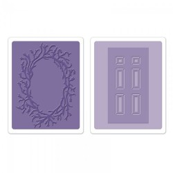 Комплект от 2 бр. папки за релеф - Sizzix Textured Impressions Embossing Folders 2PK - Door & Wreath Set