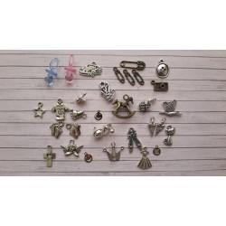 Декоративни метални елементи - бебешки/детски - 28бр. + 2бр. пластмасови биберона