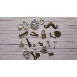Декоративни метални елементи - мъжки микс - 21бр.