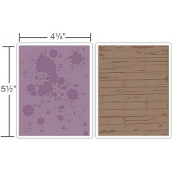 Папка за релеф - Sizzix - Embossing Folder - Floral FrameInk Splats & Wood Planks Set