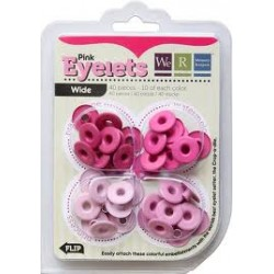 Айлети -  We R Memory Keepers - Wide Eyelets - Aluminum Pink - 40бр.