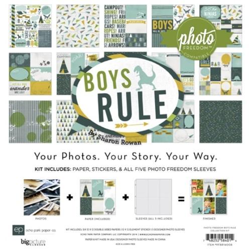 "Комплект от дизайнерски момчешки хартии 12""х12"" - Boys Rule Collection Kit PFBR14008"
