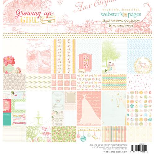 "Дизайнерско блокче 12""х12"" за момиченце - Growing Up Girl 12x12 Paper Pad"