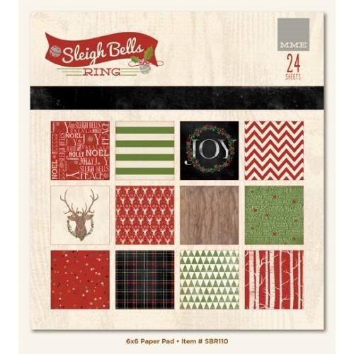 "Дизайнерско блокче 6""х6"" - Sleigh Bells Ring 6x6 Paper Pad (24 sheets per pack)"