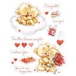 """К-т от печати """"Мои малки мечета - Прекрасна двойка"""" - Set of stamps 14*18cm My little Bear To Wonderful couple SCB071202b"""