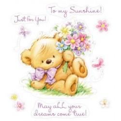 Комплект от печати - Set of stamps 10*11cm My little Bear with FLOWERS SCB071205b