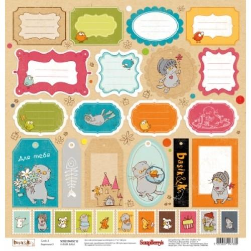 """Едностранен дизайнерски картон - One-sided paper 12""""*12"""" 180 g/m, Basik&Ko Сards 3 , 1 sheet"""