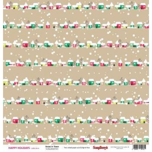 """Двустранен дизайнерски картон - Double-sided paper 12""""*12"""" Happy Holiday Snow in Town 180gsm"""