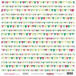 "Двустранен дизайнерски картон - Double-sided paper 12""*12"" Happy Holiday Celebrationl 180gsm"