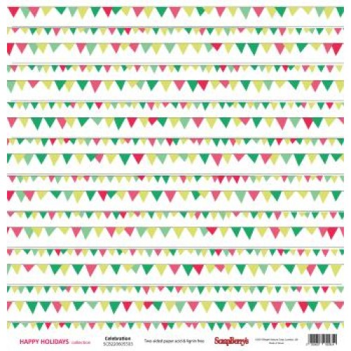 "Двустранен дизайнерски картон 12"" х 12"", 180гр. - Double-sided paper 12""*12"" Happy Holiday Celebrationl 180gsm 1 sheet"