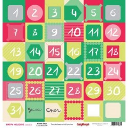 "Двустранен дизайнерски картон 12"" х 12"", 180гр. - Double-sided paper 12""*12"" Happy Holiday Winter Days 180gsm 1 sheet"